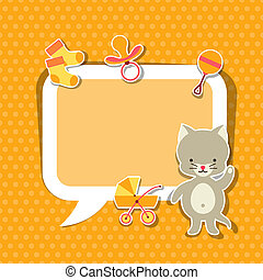 Background photo frame with little cute baby cat.