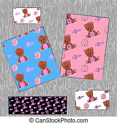 Background Pink Baby Teddy Bear with Toys. Ball and rattle. For cards, fabric, print. vector illustration.