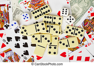 Background - playing cards, dice, money, and dominoes
