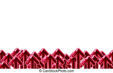 Background Red 3D realistic plastic arrow glossy start-up presentation, Many arrows directed to upward. Design advertising banner variant vector illustration. EPS10