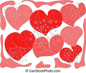 background red abstract hearts with gray stars