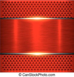 Background red metallic, brushed metal banner over ...