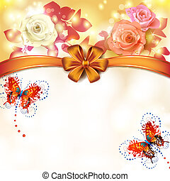 Background roses with butterflies