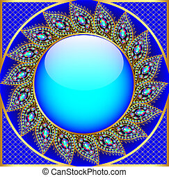 background  round frame with the ornament of precious stones