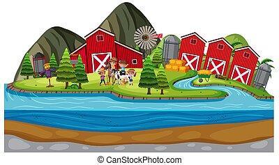 Background scene of farmers on the farm