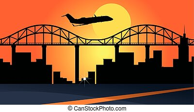 Background scene with airplane flying over city buildings