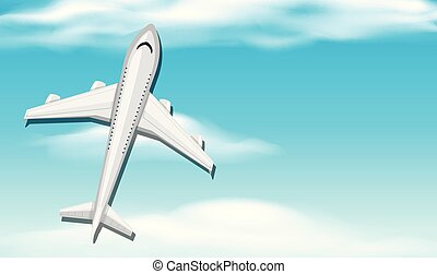 Background scene with airplane in blue sky