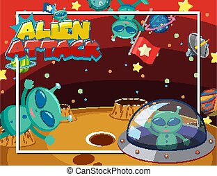 Background scene with alien and UFO flying in space