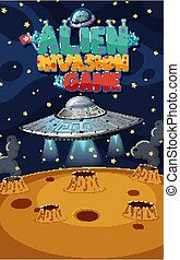 Background scene with alien invasion in space