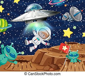 Background scene with astronaut and aliens in space