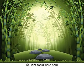 Background scene with bamboo forest