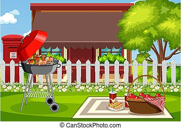 Background scene with barbecue in the park