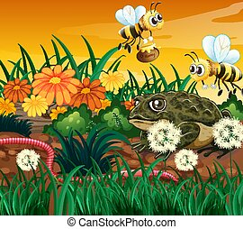 Background scene with bee and frog