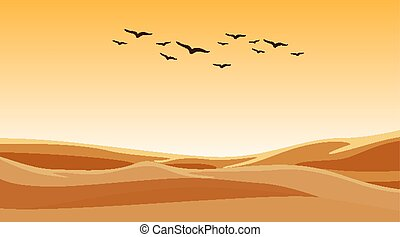 Background scene with birds flying over sand field
