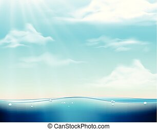 Background scene with blue sea and blue sky