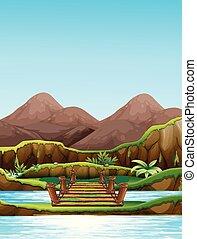 Background scene with bridge over the river