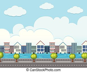 Background scene with buildings along the road