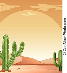 Background scene with cactus in desert