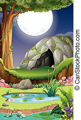 Background scene with cave at night