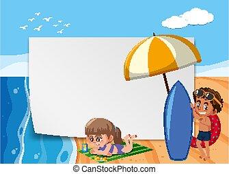 Background scene with children on the beach