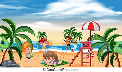 Background scene with children playing on the beach