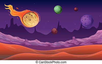 Background scene with comet and other planets in space
