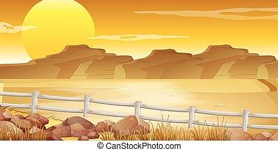 Background scene with desert at sunset