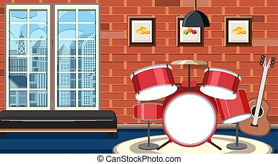 Background scene with drumset in the room illustration