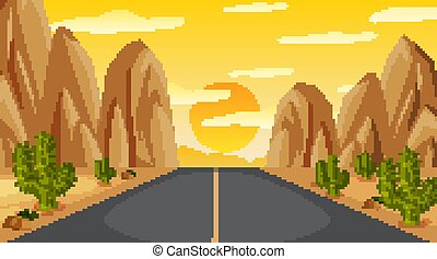 Background scene with empty road to the mountain at sunset