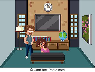 Background scene with father bullying mother at home