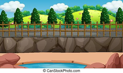 Background scene with fence around the park illustration