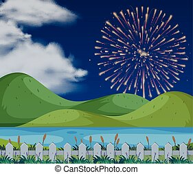 Background scene with firework in sky