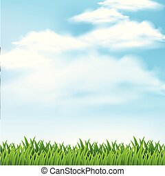 Background scene with green grass and blue sky