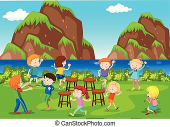 Background scene with kids playing music chairs