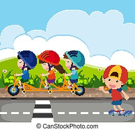 Background scene with kids riding bike on the road