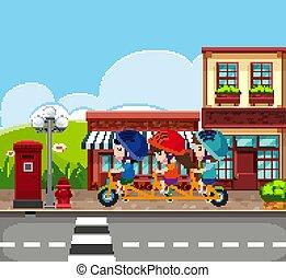 Background scene with kids riding bike on the sidewalk