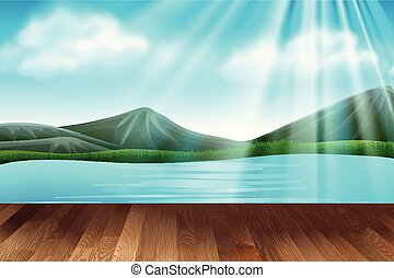 Background scene with lake and mountains