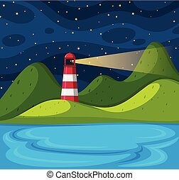 Background scene with lighthouse at night