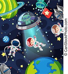Background scene with many aliens and astronauts in the space