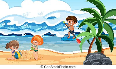 Background scene with many children on the beach