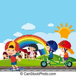 Background scene with many kids riding on the road