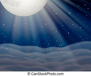 Background scene with moon in dark night