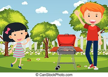 Background scene with people and barbecue in the park
