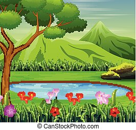 Background scene with pond in the mountain