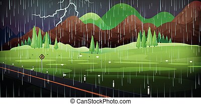 Background scene with rain in the field