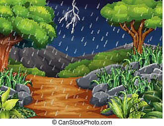 Background scene with rain in the park