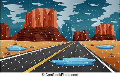 Background scene with rain in the road illustration