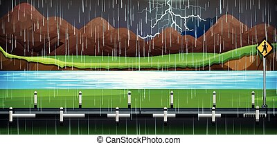 Background scene with rain on the road