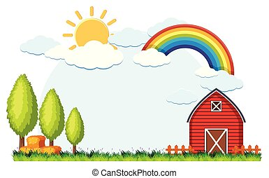 Background scene with red barn and hay