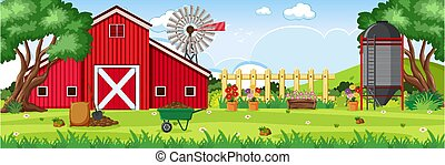 Background scene with red barn and silo on the farm